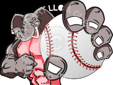 Baseball clipart elephant A Elephant baseball holding baseball