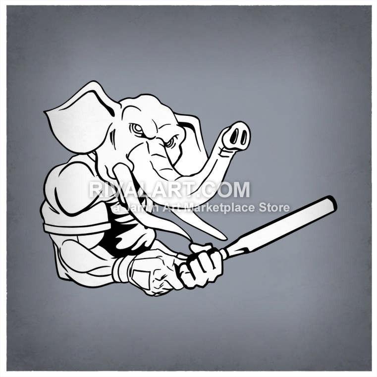 Baseball clipart elephant Holding Bat Vector Baseball A