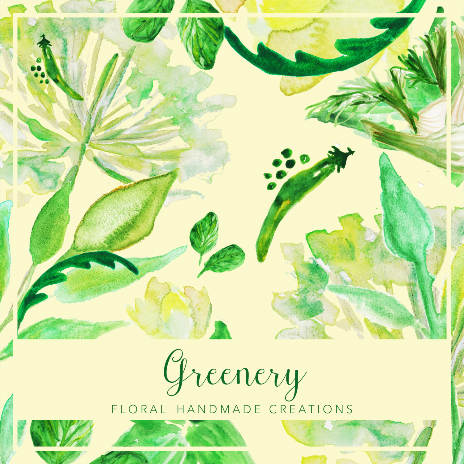 Basil clipart watercolor Hand Watercolor Green Floral Clipart