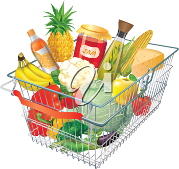 Basket clipart grocery store Art full a shopping basket