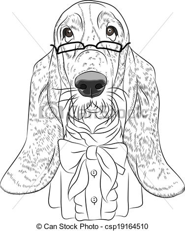 Basset Hound clipart hunting dog Funny  cartoon Basset Hound