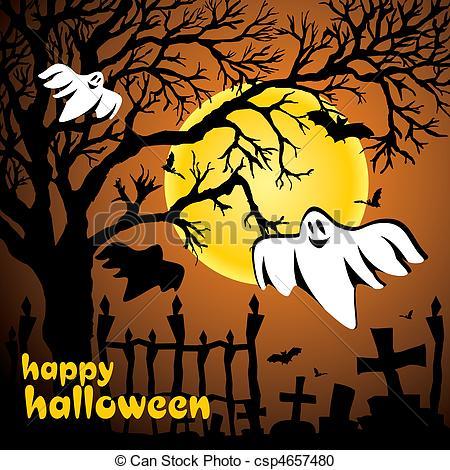 Bat clipart halloween scene Scene illustration illustration vector moon