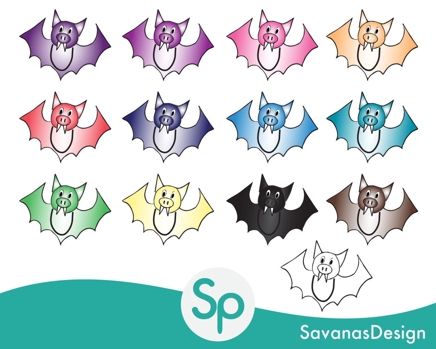 Bat clipart printable Printable Bat Clip digital Cutouts