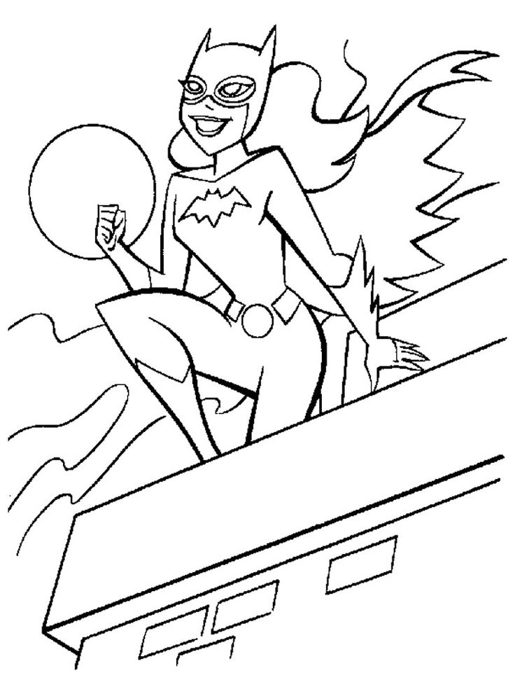 Batgirl clipart black and white #9