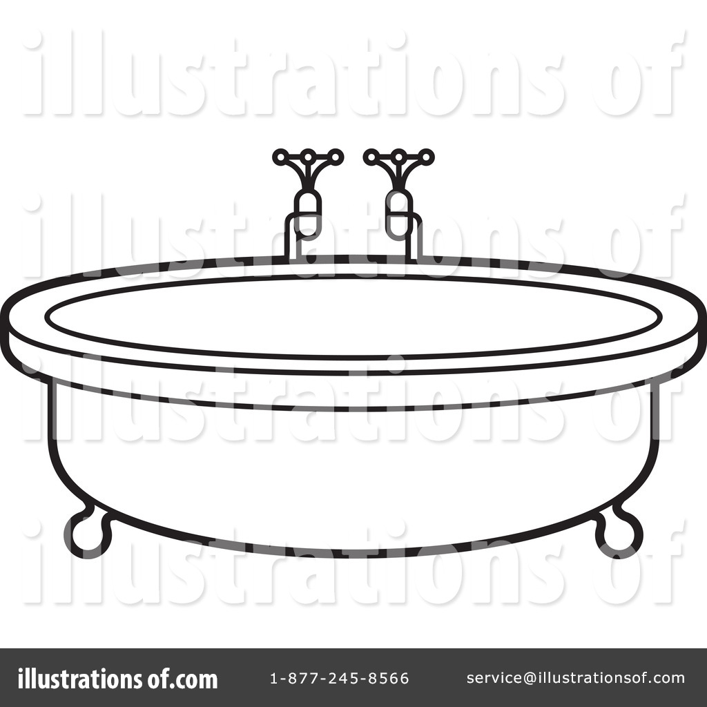 Bathtub clipart outline Clipart Royalty #1244333 Clipart by