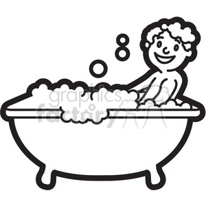 Bathtub clipart outline Black boy and and outline