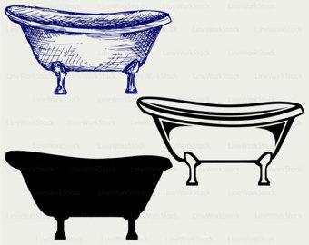 Bathtub clipart silhouette Cricut cut baths files svg