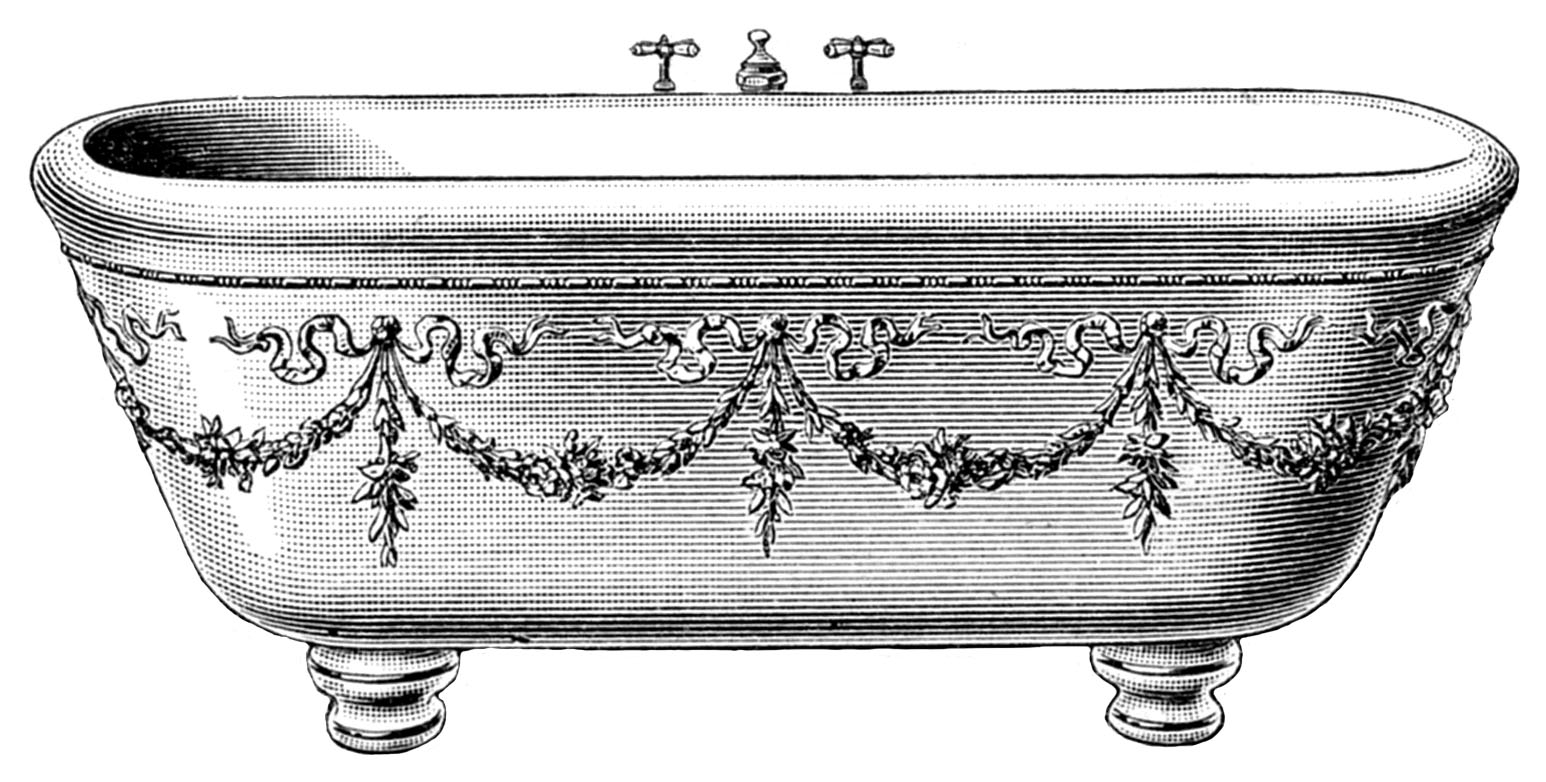 Bathtub clipart vintage To Vintage With Bathtub Tub