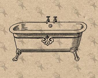 Bathtub clipart vintage Bathtub image drawing Bathtub on