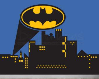 Batman clipart city skyline Decal logo Etsy Wall wall