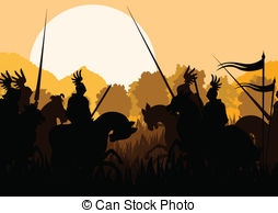 Battlefield clipart Knight silhouettes Vector Clip Medieval