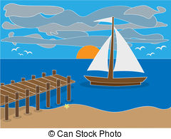 Pier clipart Dock clipart Bay Vector and