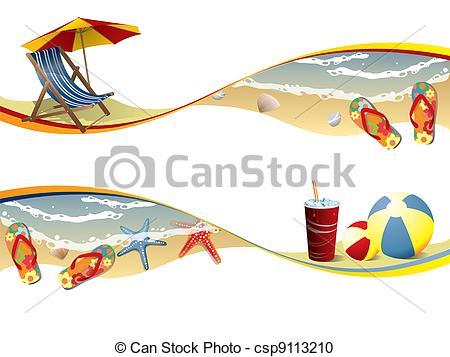 Beach clipart banner Search of banners beach Summer