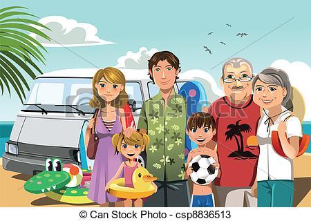 Beach clipart family beach vacation Of vacation beach Family illustration