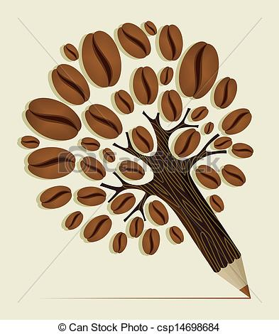 Beans clipart coffee tree Coffee pencil Beans Vector tree