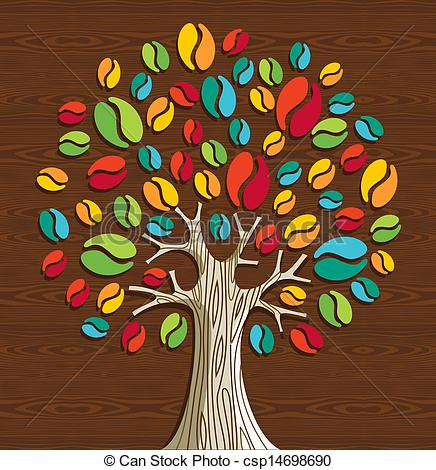 Beans clipart coffee tree Coffee tree beans Vectors Colorful