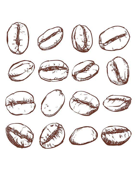 Drawn collage coffee bean #14