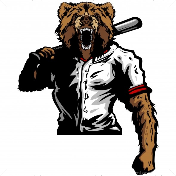 Baseball clipart bear Vector Clipart Art Grizzly