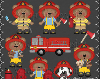 Bear clipart firefighter Firefighter ECU Clipart Etsy Bears