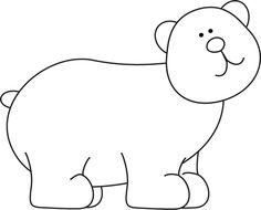Brown clipart black and white Black white white Bear Bear