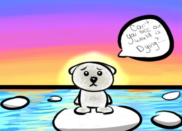 Drawn polar  bear sad #1