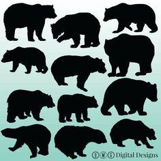 Bear Cub clipart fur Sillouette Silhouette Images Digital OMGDIGITALDESIGNS