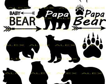 Paw clipart baby bear Dxf Bear svg Etsy SVG