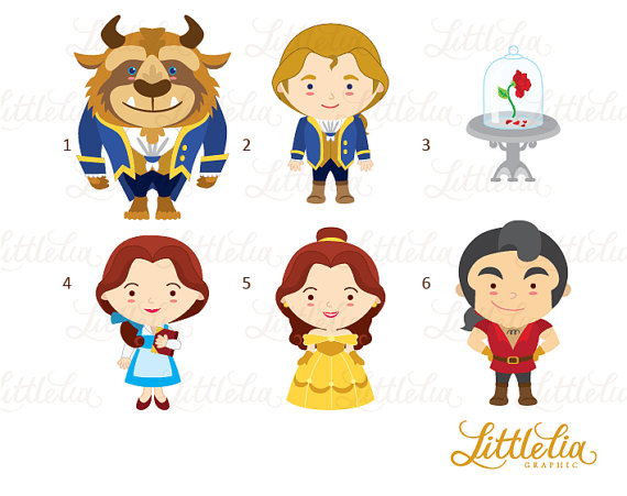Beast clipart cute Set Princess clipart Belle and