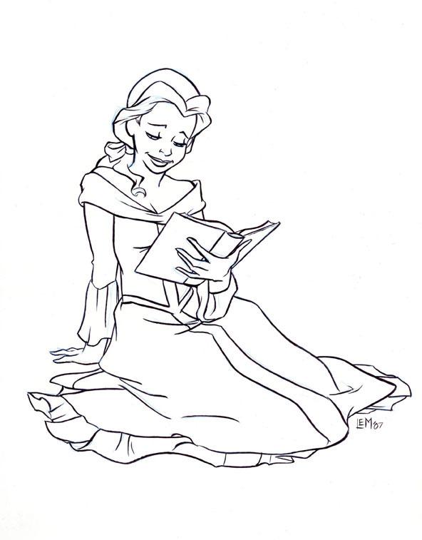 Beast clipart reading Book a Coloring clip princess