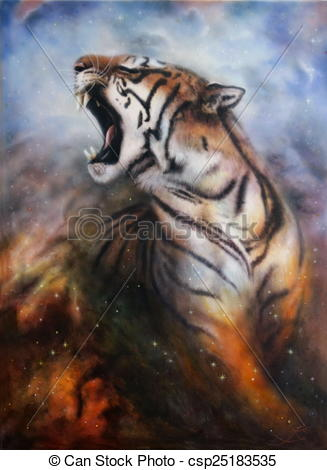 Tiger a space roaring painting