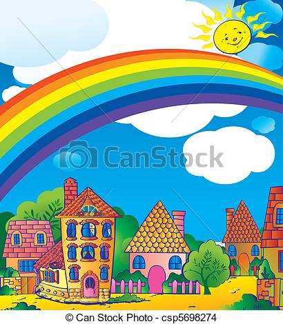 Beautiful clipart beautiful weather Beautiful  town sunny EPS