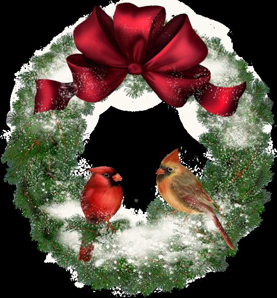 Wreath clipart transparent background Transparent Christmas Birds Wreath with