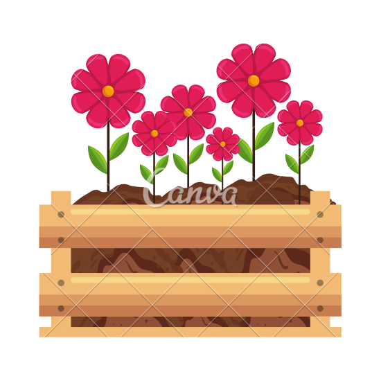 Beautiful clipart flower bucket Canva by Flowers Icon in