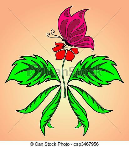 Beautiful clipart flower butterfly Csp3467956 butterfly  Butterfly Clip