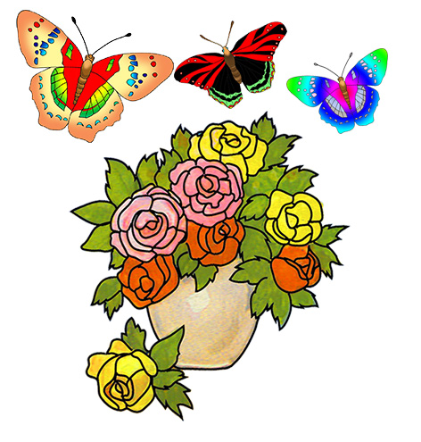 Beautiful clipart flower butterfly Flowers vase and images Beautiful