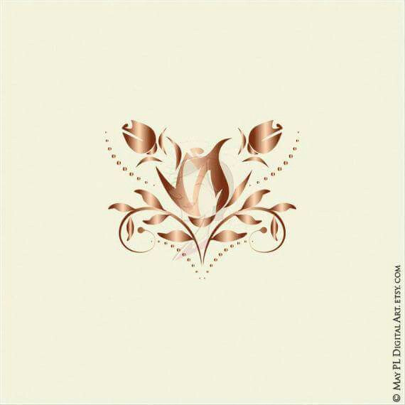 Beautiful clipart gold flower Commercial Decorative Clipart DIY Gold