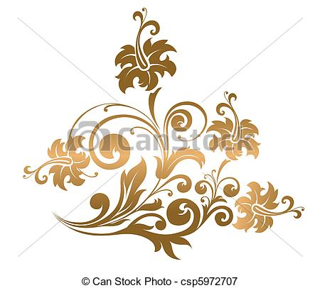Beautiful clipart gold flower  Vector Beautiful ornament with