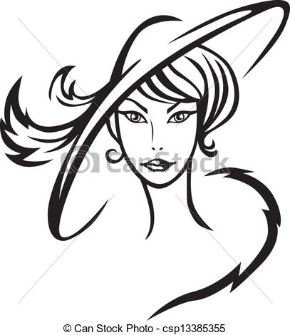 Beautiful clipart pretty lady Lady csp13385355 Vector  Contour