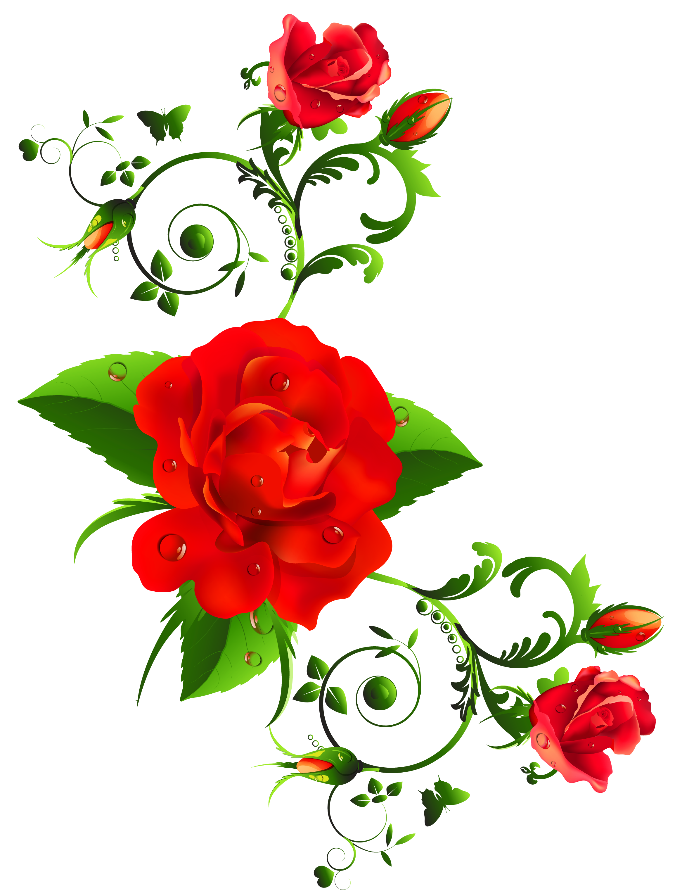 Red Rose clipart decorative #4