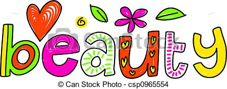 Beautiful clipart the word Beauty the of whimsical isolated