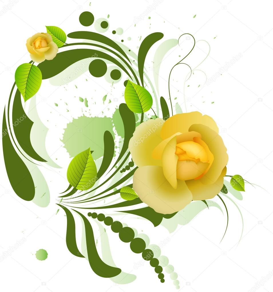 Beautiful clipart cute princess Roses on Yellow — Roses