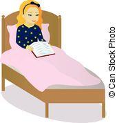 Bed clipart afraid Afraid indoors Vector little girl
