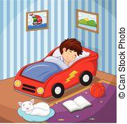 Bed clipart afraid Illustration afraid car of boy