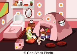 Bed clipart afraid Illustration afraid the of playing