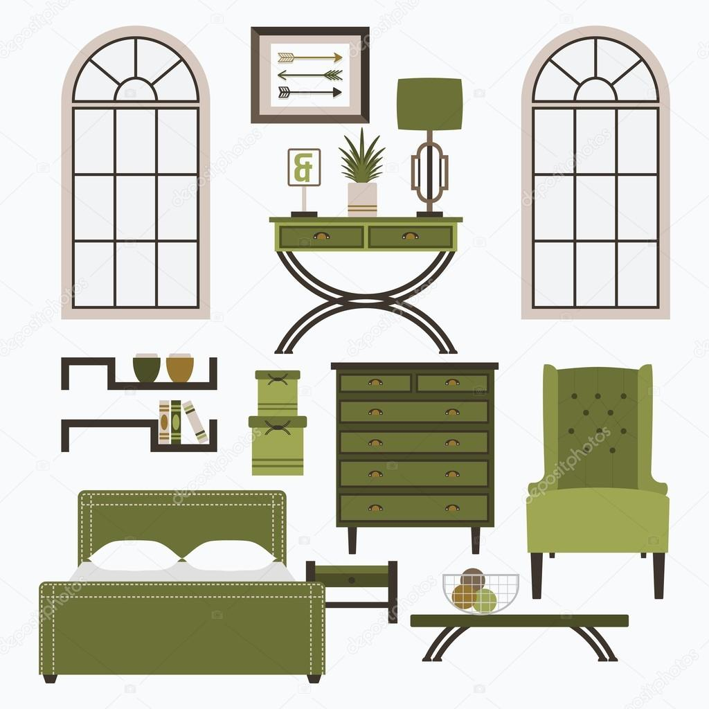 Bed clipart coffee table  and chair color chair