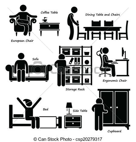 Bed clipart coffee table Set of  Furniture human