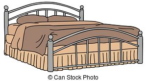 Bed clipart double bed Illustrations royalty   Double
