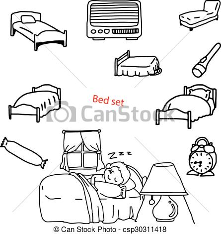 Bedroom clipart line drawing In drawn doodles  illustration