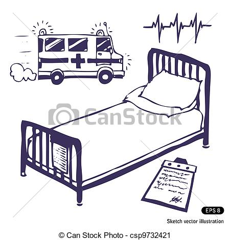 Bed clipart drawn Ambulance Hospital Hand and Vector