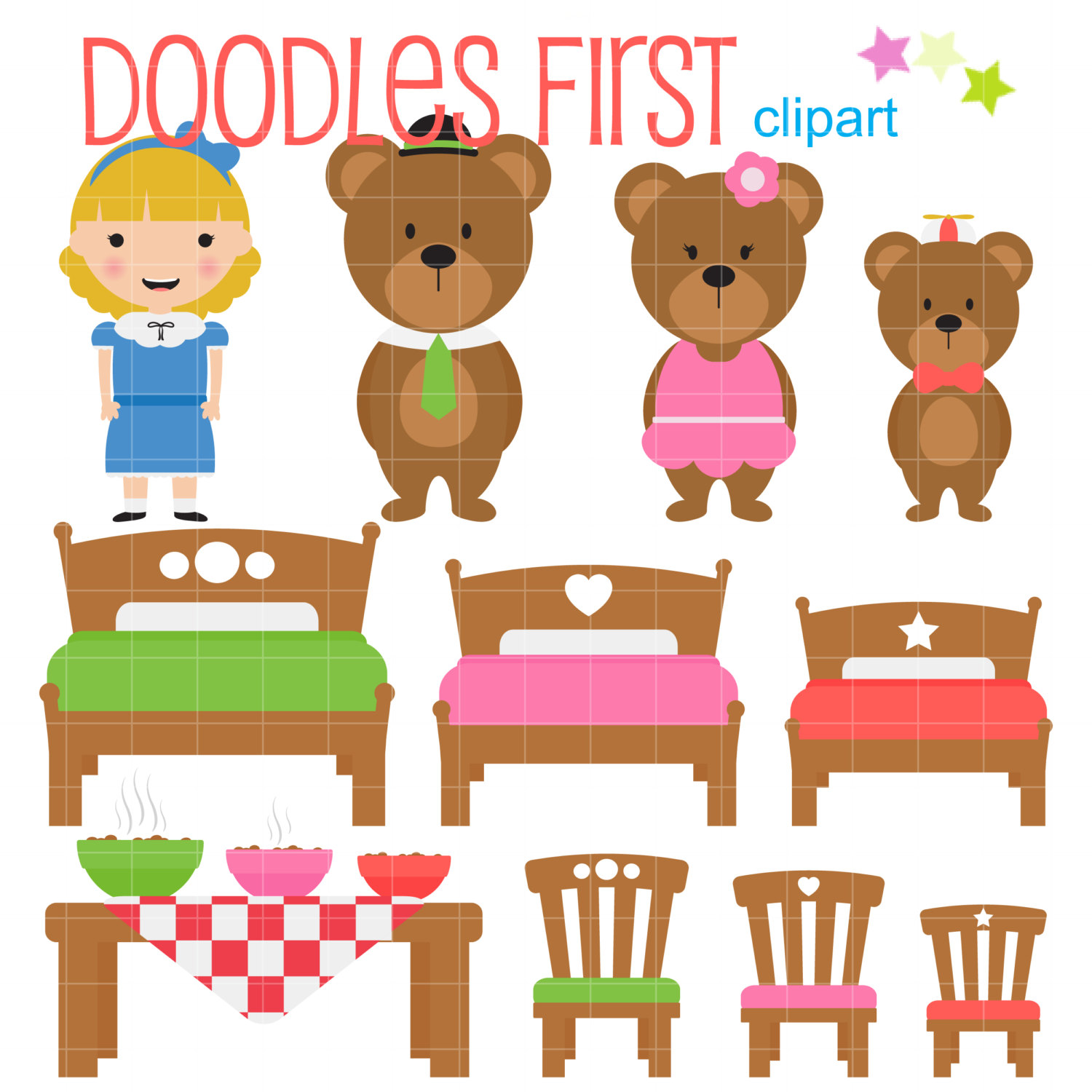 Cottage clipart thing Goldilocks Three Art  Bears